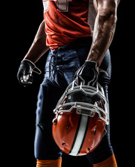 american football sportsman player in black isolated