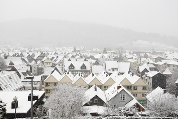 Snowcapped houses in town Herborn, Hesse, Germany