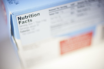 Selective Focus on a Nutrition Facts Label.