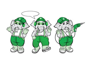 Elephant Mechanic Mascot