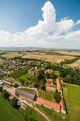 aerial view of village landscape