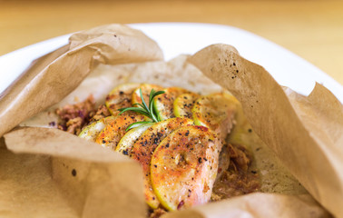 Salmon En Papillote, baked salmon in paper, french style