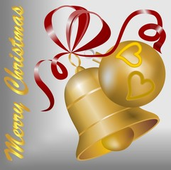 Christmas motif with gold bell and christmas ball and red ribbon