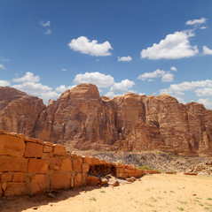 Mountains of Wadi Rum Desert in Jordan 60 km of Aqaba