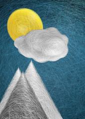 Sole nuvola cielo e montagne