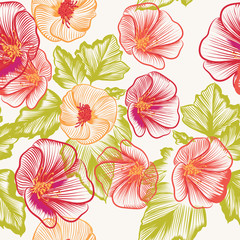 Seamless wallpaper pattern with colorful  flowers
