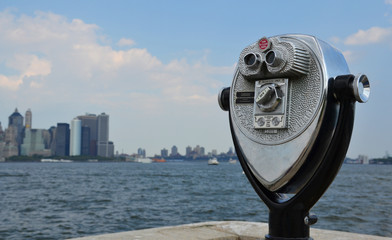 A coin-operated binocular viewer