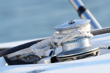 Sailboat winch and rope yacht detail, equipment for boat control