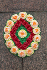 Wreath on Monument to Lenin in Pyatigorsk, Russia