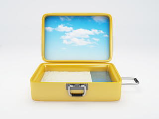Travel suitcase. beach vacation. isolated white