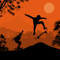 Skater silhouettes on sunset