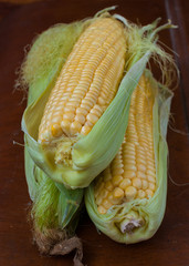 yellow corn cobs young green leaves