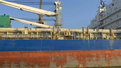 An old hige icebreaker ship on dock on the port GH4 4K UHD