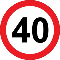 40 speed limitation road sign