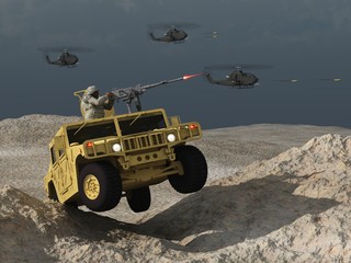 Car and helicopters in combat