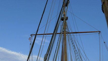 Set of ropes on the sail mast of the big ship on dock GH4 4K UHD