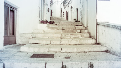 The stairs of the small Italian village