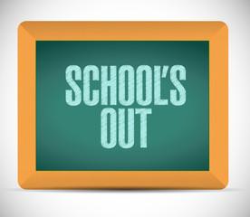 schools out blackboard illustration design