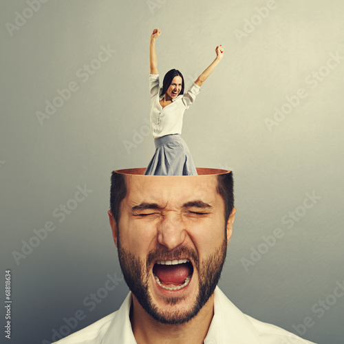 stressed young man and excited woman