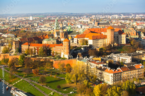 Aerial view of Royal Wawel castle with park in Krakow.