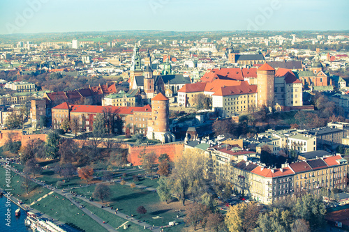 Aerial view of Royal Wawel castle with park in Krakow