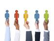 Leinwandbild Motiv Business People Holding Characters Individuality