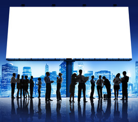 Silhouette Group of Business People with Placard