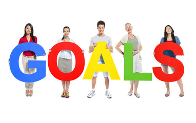 Group of People Holding GOALS Alphabet
