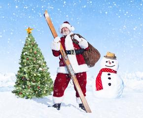 Santa Claus Standing next to a Christmas Tree
