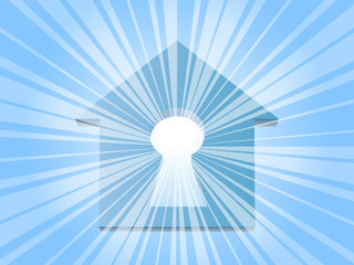 Rays of the sun through the keyhole in house. EPS10