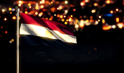 Egypt National Flag City Light Night Bokeh Background 3D