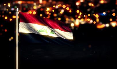 Iraq National Flag City Light Night Bokeh Background 3D