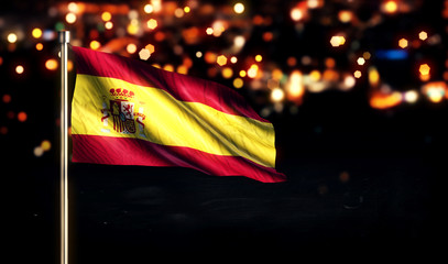 Spain National Flag City Light Night Bokeh Background 3D