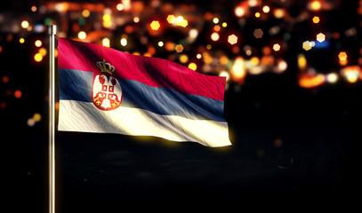 Serbia National Flag City Light Night Bokeh Background 3D