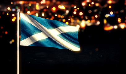 Scotland National Flag City Light Night Bokeh Background 3D