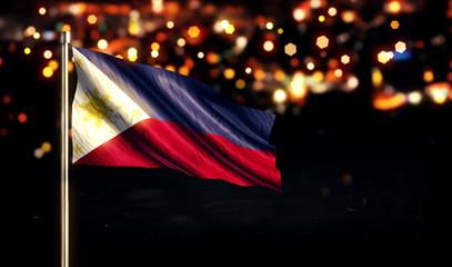 Philippines National Flag City Light Night Bokeh Background 3D