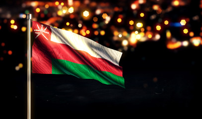 Oman National Flag City Light Night Bokeh Background 3D