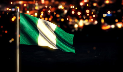 Nigerian National Flag City Light Night Bokeh Background 3D