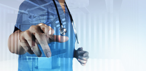 Double exposure of smart medical doctor working with operating r