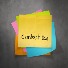"""contact us"" text on sticky note paper"