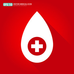 Drop icon with first aid sign on red background - medical & bloo