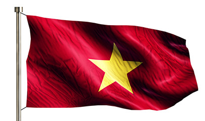 Vietnam National Flag Isolated 3D White Background