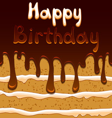 Vector birthday card on the background with sweet biscuit cake
