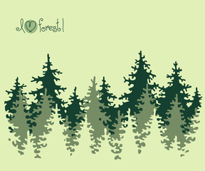 Abstract banner of coniferous forest.