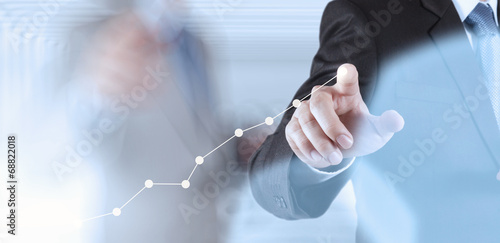 Leinwandbild Motiv businessman hand working with new modern computer and business s