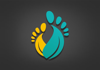 Natural podiatrist logo abstract leaf foot