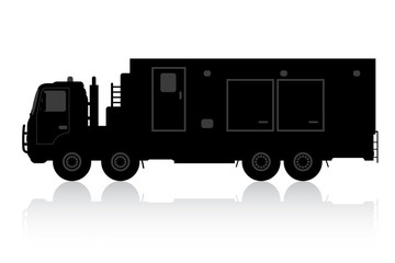 Silhouette of a truck on a white background.