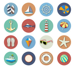 Summer Beach Vacation Icon Set