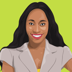 Vector of Happy Lady Portrait