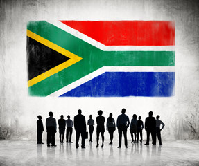 Silhouettes of Business People with African Flag